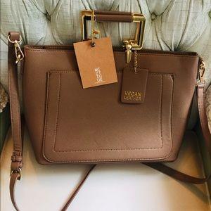NWT MIZTIQUE Taupe Vegan Leather Tote Bag